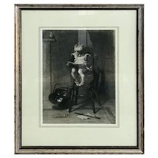 Frederick Cotman Charcoal On Paper, Boy in High Chair