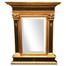 Italian Renaissance Style Carved Giltwood & Painted Mirror