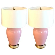 Pair of Mid Century Pink Opaline Glass Bulbous Lamps