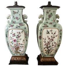 Pair 19th C. Chinese Celadon Porcelain Urn Lamps