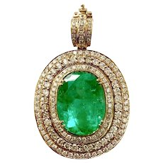 18K Gold 17 ct Emerald and Diamond Pendant
