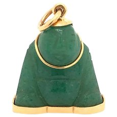 Vintage 18K Gold Chinese Jade Buddha Charm