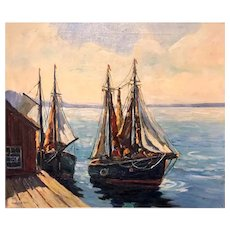 "Hawley B. Nell "" New England Harbor With Boats "" Oil On Canvas"