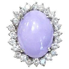 14K White Gold Lavender Jade Diamond Cocktail Ring