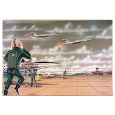 "Ken Beatty Airforce Genre ""Jets on the Tarmac"" Illustration"