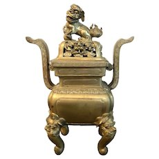 Chinese 18th/19th Century Bronze Censer With Foo Dog