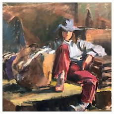 """Large Oil on Canvas """"Seated Cowgirl"""" Polly Haecker"""