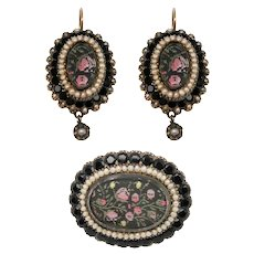 Victorian Gold Cultured Seed Pearl, Onyx, Hair Earrings & Pin