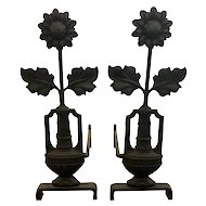Arts & Crafts Period Iron Sunflower Andirons