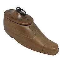 English Carved Fruitwood Shoe Form Snuff Box