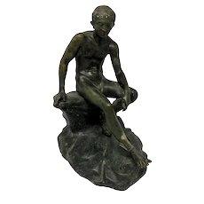 Grand Tour Roman Bronze Boy Seated on Rock