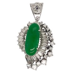 18K White Gold Diamond & Jadeite Pendant