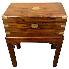 English 19th C. Mahogany Lap Desk On Stand