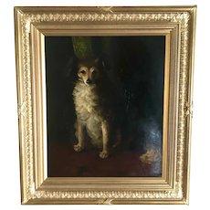 19th C. British Portrait of a Dog, Oil on Artist Board