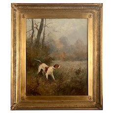 Alfred Godchaux French 19th C. Pointer Hunting Dog Portrait