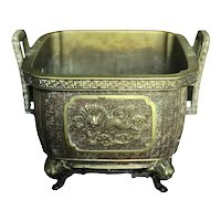 Japanese Bronze 19th C. Handled Censer / Jardinaire