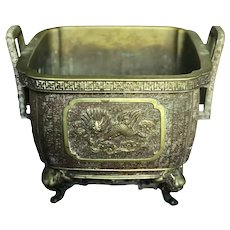 Japanese Bronze 19th C. Handled Censer / Jardinaire