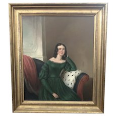 19th C. American Portrait of a Lady, Oil on Canvas