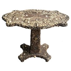 Victorian 19th C. Shell Encrusted Center Table
