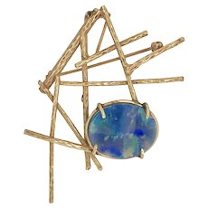 Mid Century 14K Gold Opal Doublet Pin Pendant