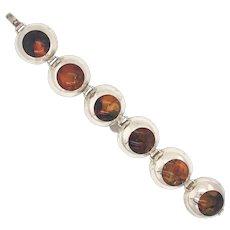 Russian Mid Century Modern Sterling & Amber Bracelet