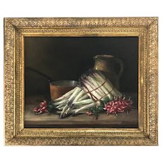 19th C. Still Life of Asperagus & Radishes, H. Chanffand