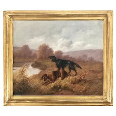 19th C. Louis Lartigau Two Setter Dogs On the Hunt