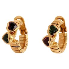 BULGARI 18K Gold Tubogas Earrings with Tourmaline Hearts