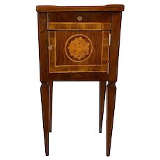 18th Century Italian Walnut Side Table Floral Inlay
