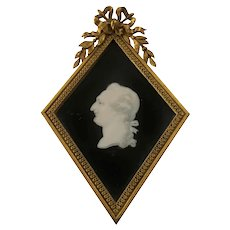 19th C. Silhouette Painting On Silk French Bronze Frame