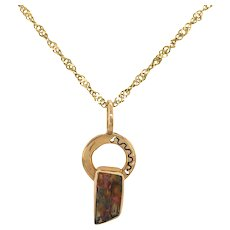14K Gold Boulder Opal Contemporary Pendant on Chain