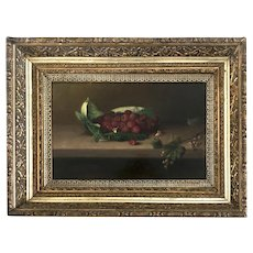 19th C. American Still Life of Raspberries & Grapes