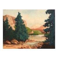 American Landscape Oil on Canvas Paul Smith