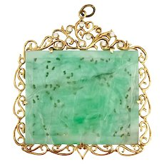 Large Carved Jadeite 14K Gold and Diamond Pendant
