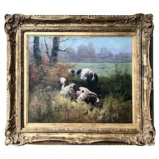 Eugene Petit, French, Two Hunting Spaniels in a Meadow