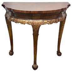 English George II Style Carved Walnut And Parcel Gilt Console Table