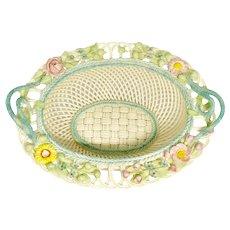 Vintage Irish Belleek Porcelain 4 Strand Basket