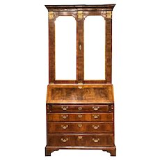 18th Century English Walnut And Parcel Gilt George II Secretary