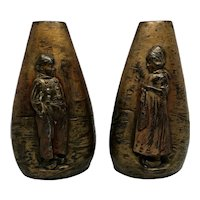 """Pair Of Figural Relief """" Dutch Boy And Girl """" Bronze Vases"""