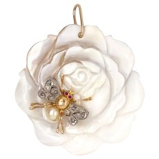 Carved Rose Pendant w/ 18K Gold Platinum Diamond Ruby Bee