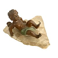 Whimsical Bronze Cherub On Ice Skates