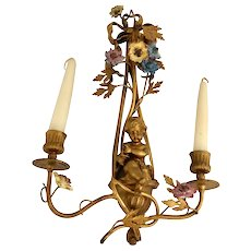 19th Century French Gilt Bronze Two Light Candle Sconce With Cherub