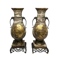 """Pair Of French """"Japanese Aesthetic """" Style Gilt Bronze And Marble Urns"""