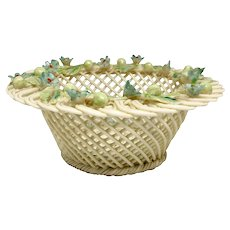 Vintage Irish Beleek Porcelain Openwork Basket