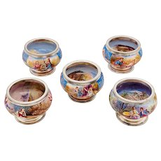 Rare Set Of Five Antique Decorated Viennese Enamel And Silver Salts