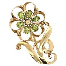 Retro Large Tiffany & Co 14K Gold Peridot Flower Brooch