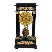 French Portico Bronze and Wood Clock c. 1840