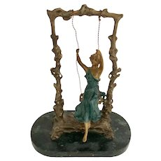 Art Nouveau Style Bronze Girl On A Swing