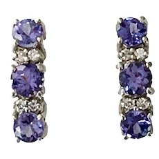 14K White Gold Tanzanite Diamond Hoop Pierced Earrings