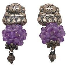 Mexican Sterling Silver Amethyst Figural Pierced Earrings